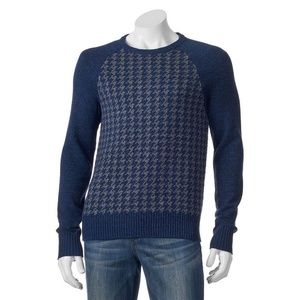 NAVY HOUNDSTOOTH CREW NECK PULLOVER S, M, L